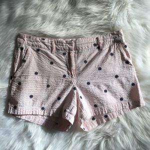 Women's Pink and Navy Pinstripped Shorts Size 8